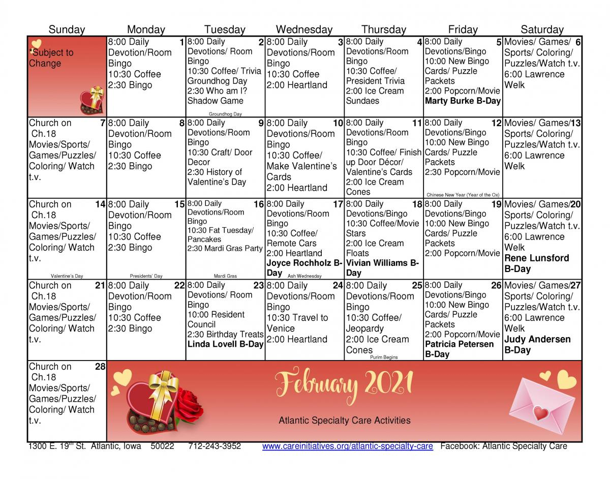 Atlantic Specialty Care February calendar
