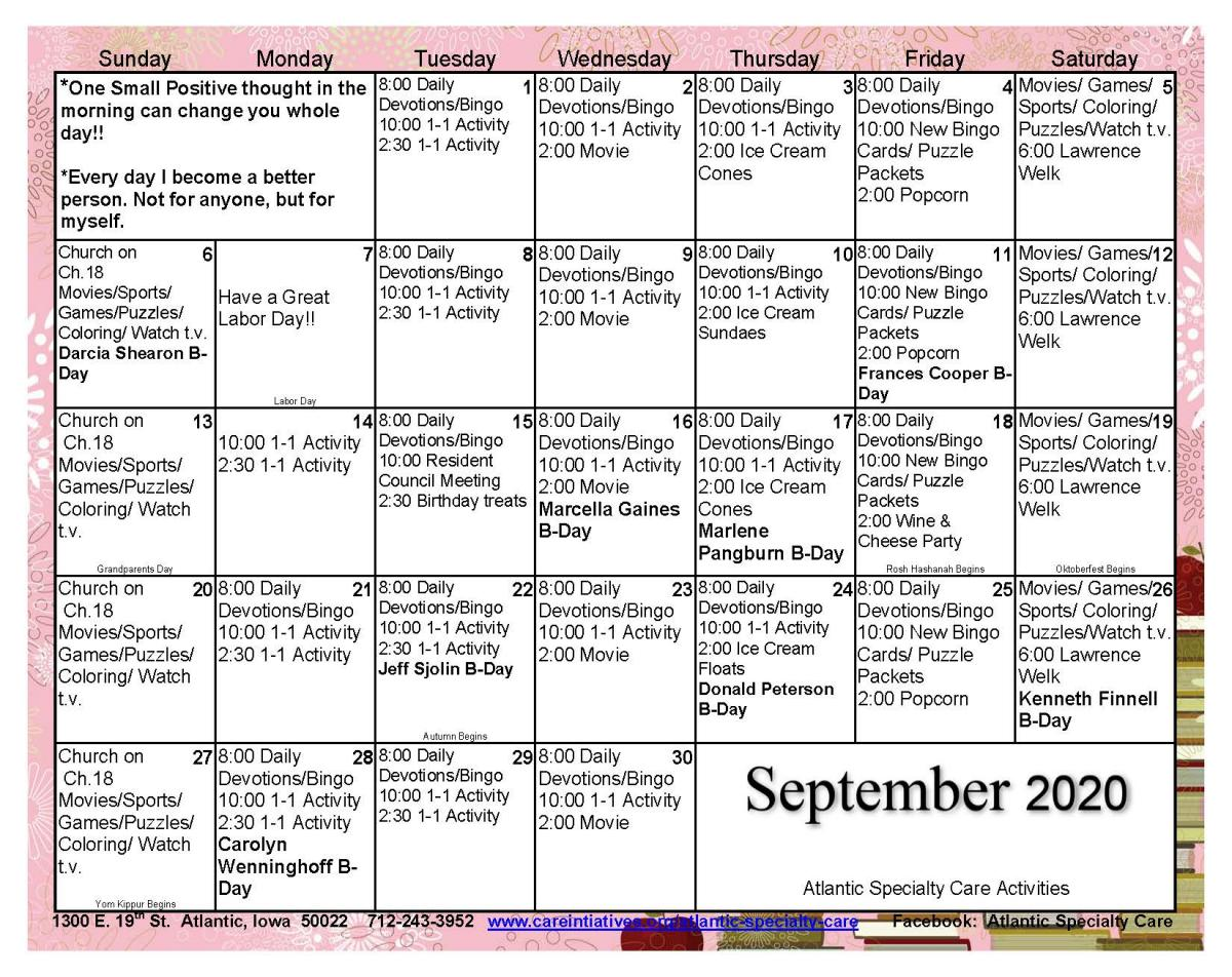 Atlantic Specialty Care September calendar