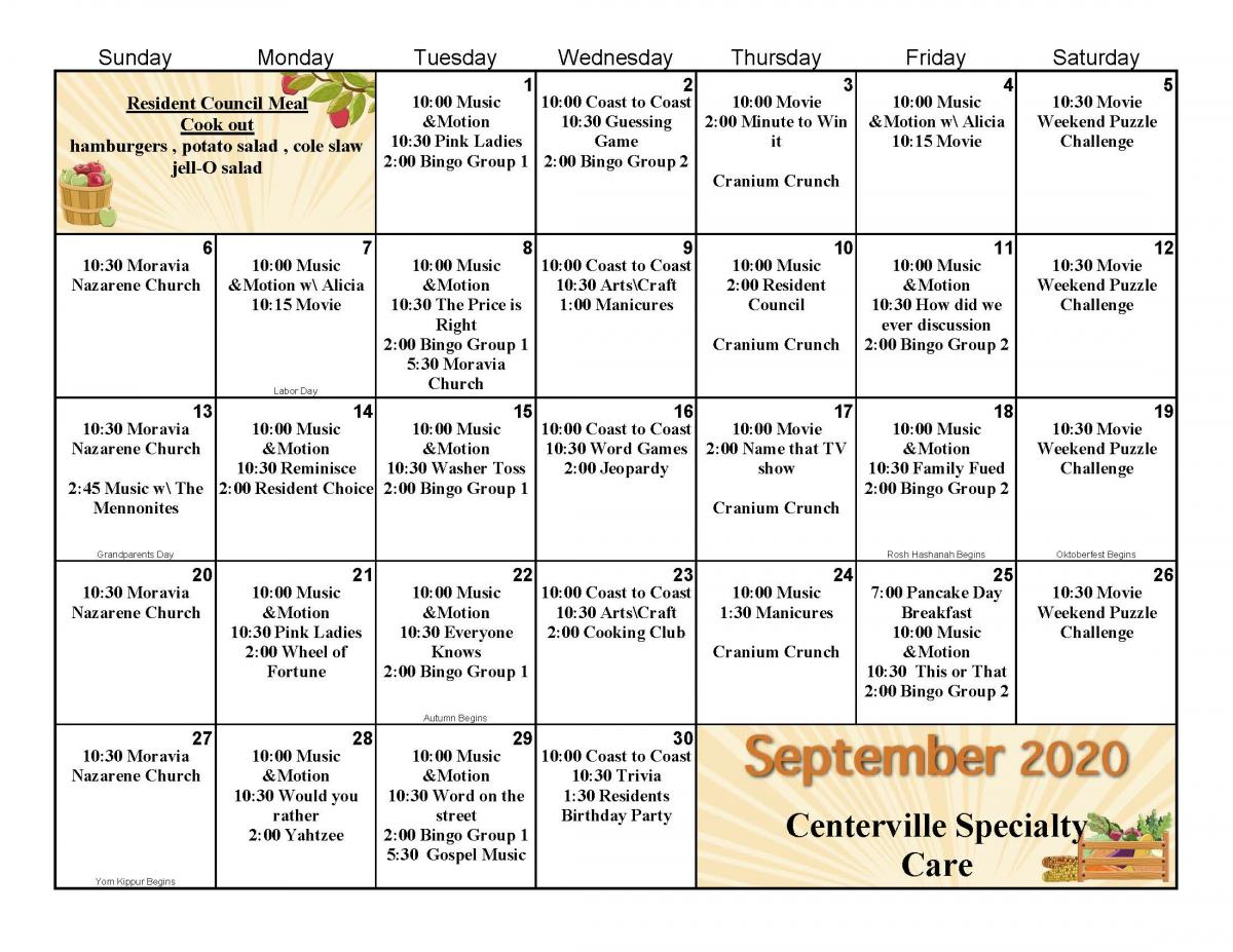 Centerville Specialty Care September calendar