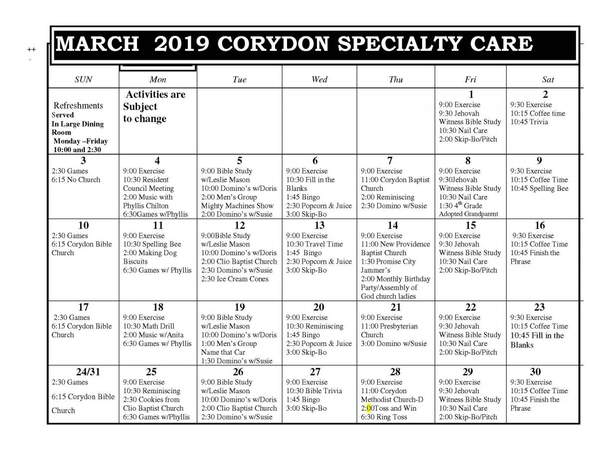 Corydon Specialty Care March calendar