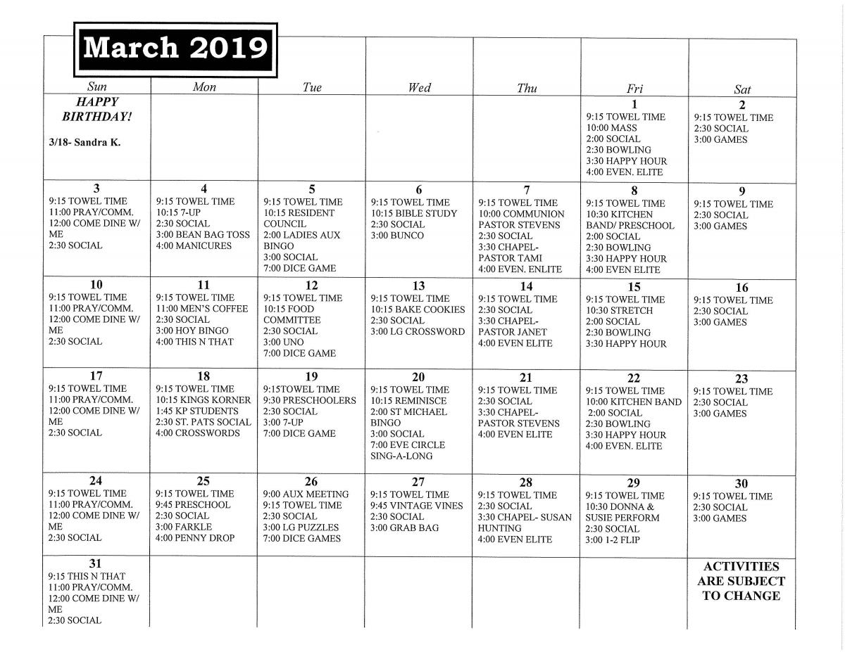 Kingsley Specialty Care March calendar