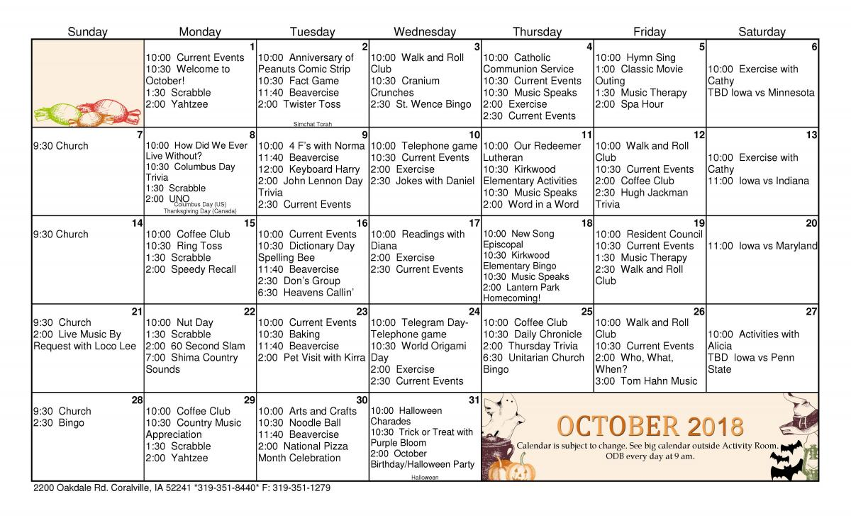lantern park specialty care october calendar | care initiatives