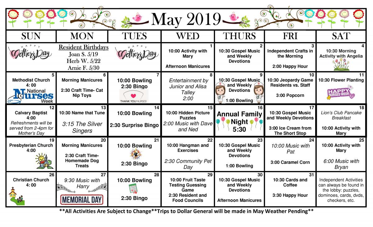 New London May calendar
