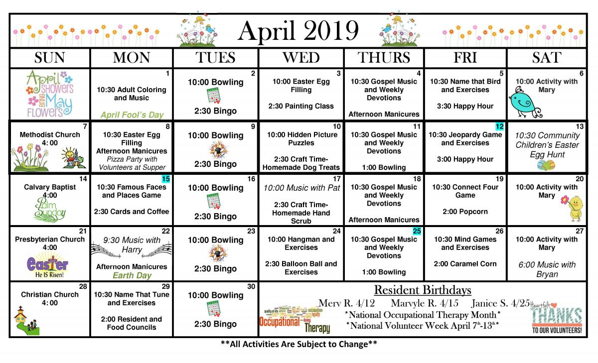 New London Specialty Care April calendar