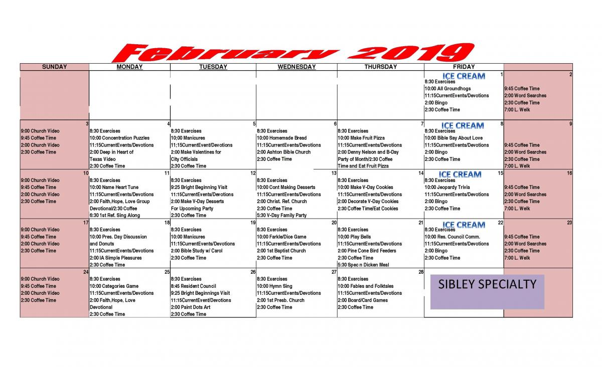 Sibley Specialty Care February calendar