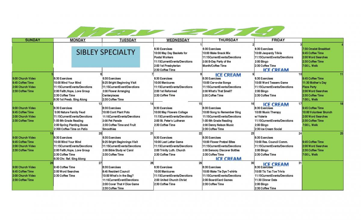 Sibley May calendar