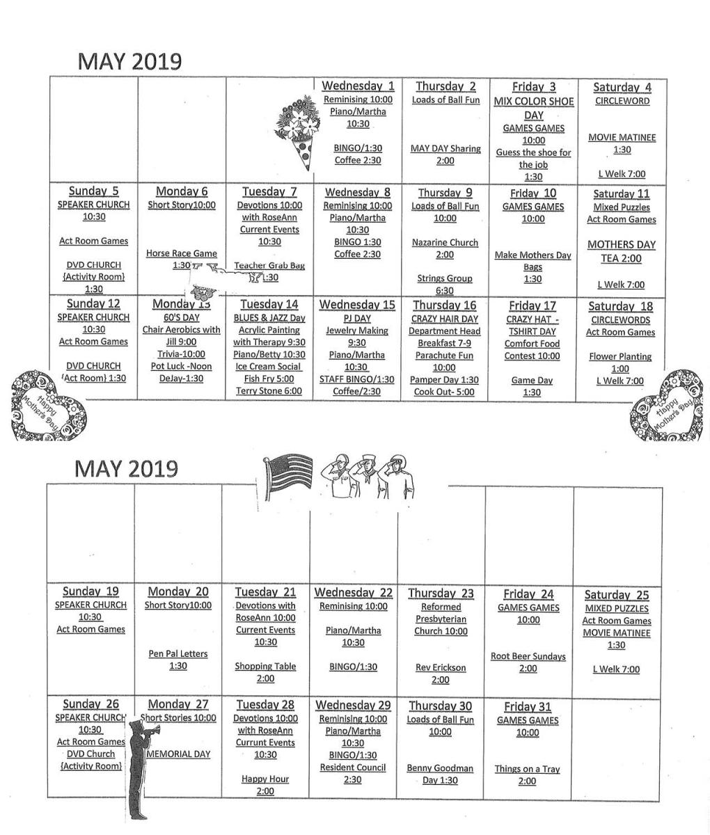 Wapello Specialty Care May calendar